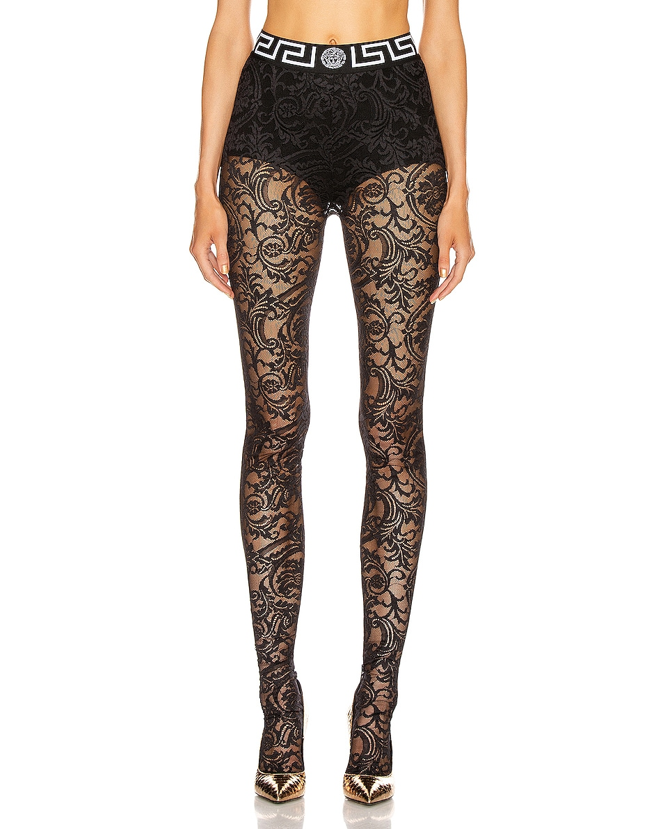Image 1 of VERSACE All Over Lace Tights in Black