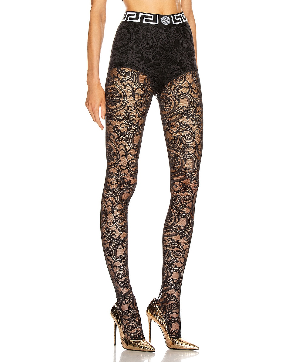 Image 2 of VERSACE All Over Lace Tights in Black