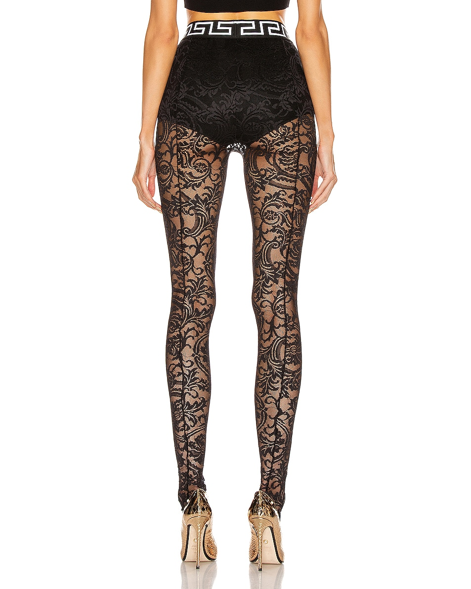 Image 3 of VERSACE All Over Lace Tights in Black