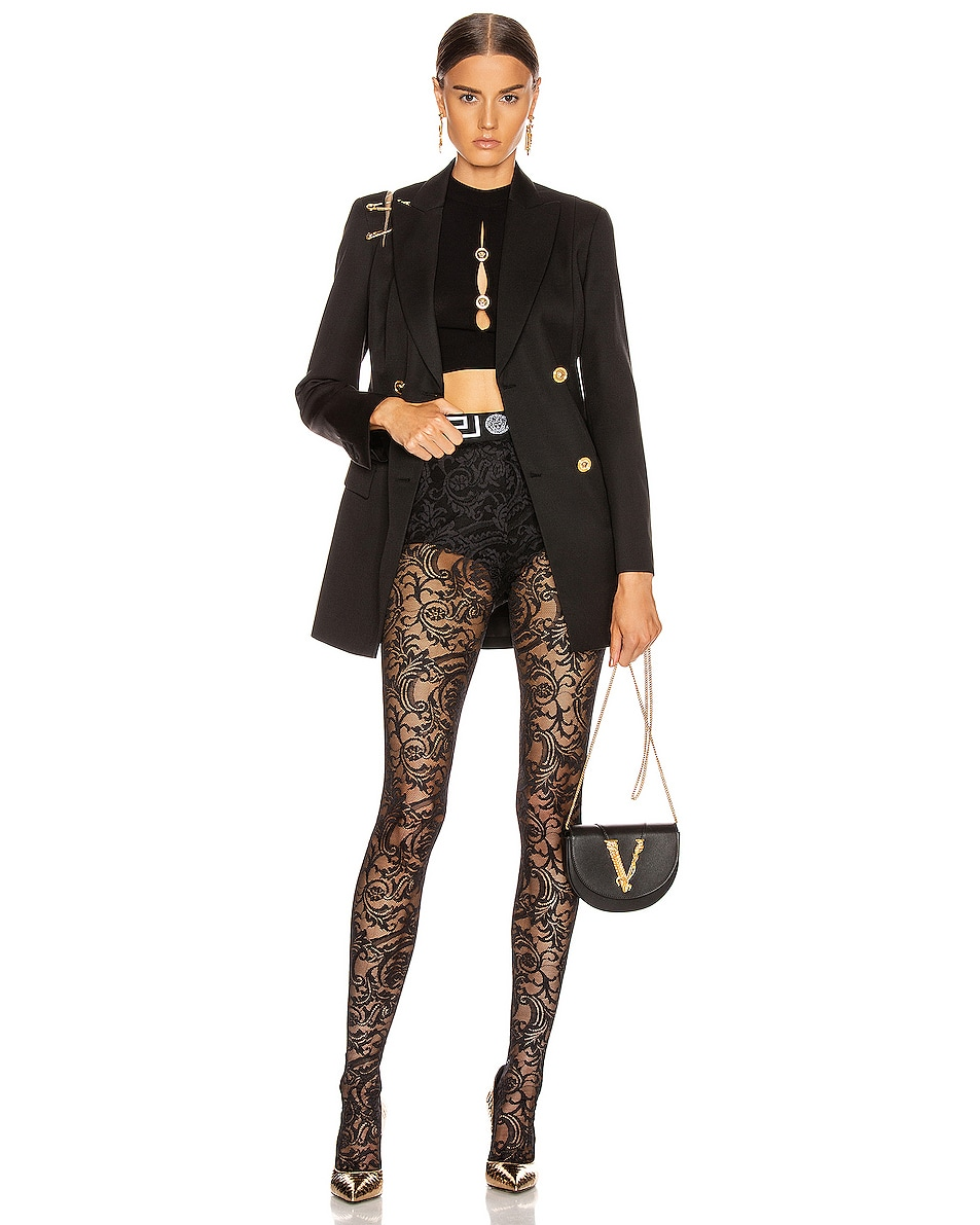 Image 4 of VERSACE All Over Lace Tights in Black