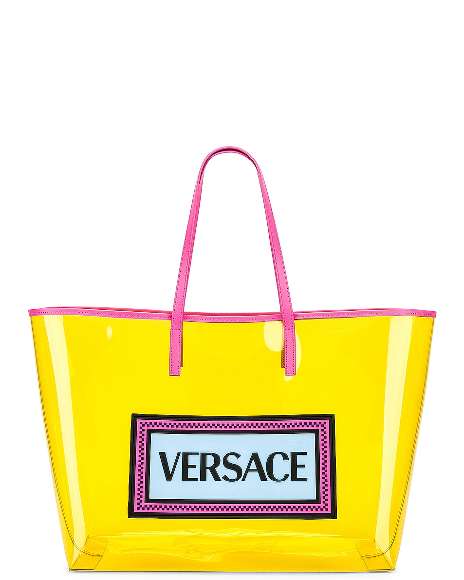 Image 1 of VERSACE Clear Vinyl Logo Tote in Yellow