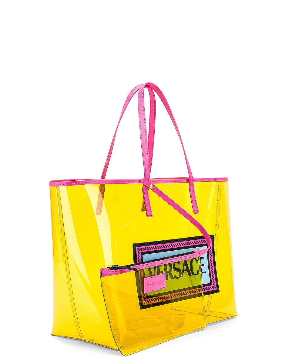Image 4 of VERSACE Clear Vinyl Logo Tote in Yellow