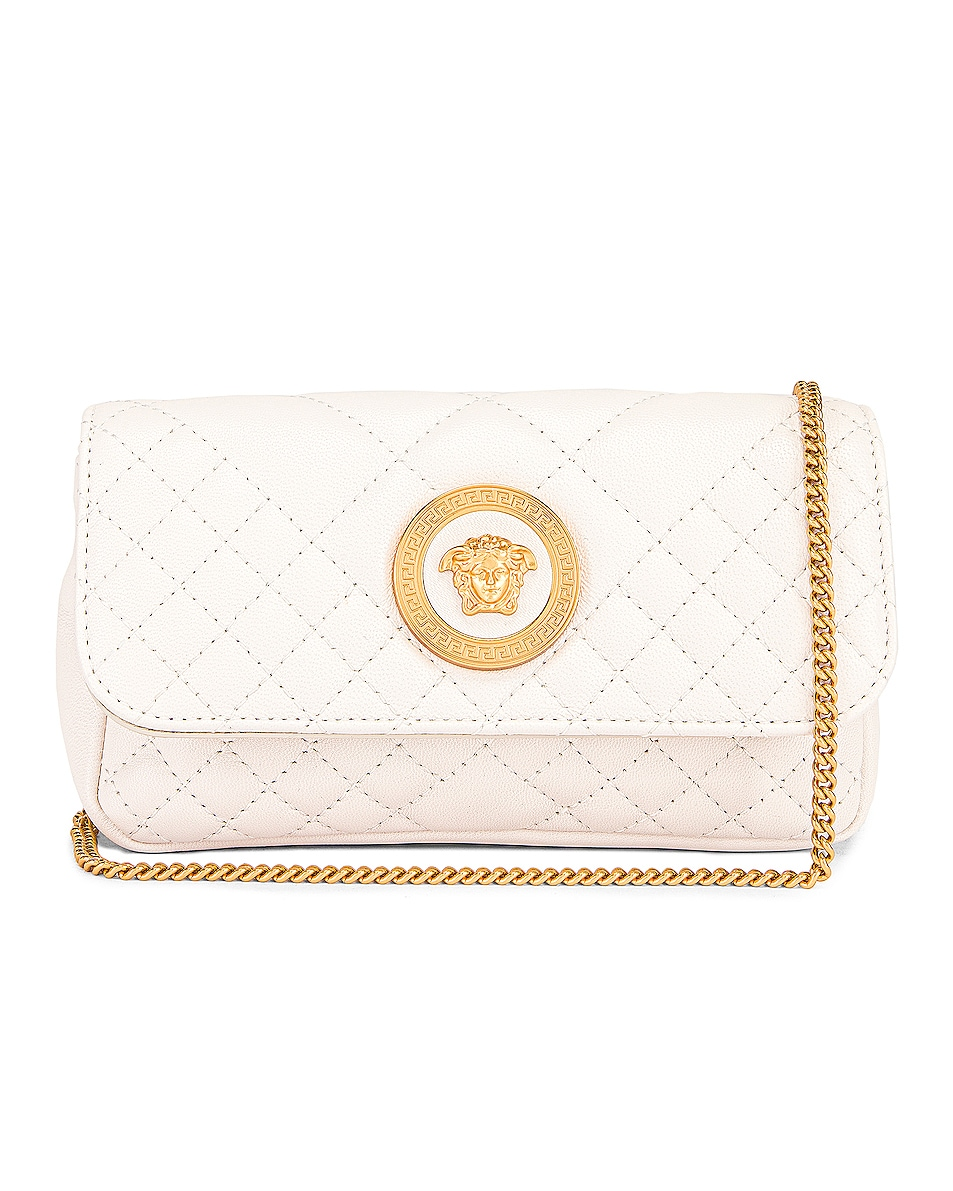 Image 1 of VERSACE Leather Tribute Mini Shoulder Bag in Off White & Gold