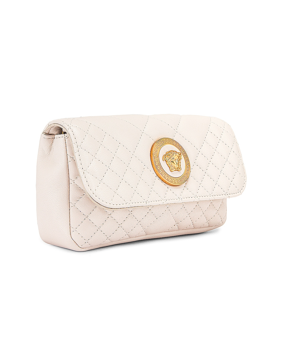 Image 4 of VERSACE Leather Tribute Mini Shoulder Bag in Off White & Gold