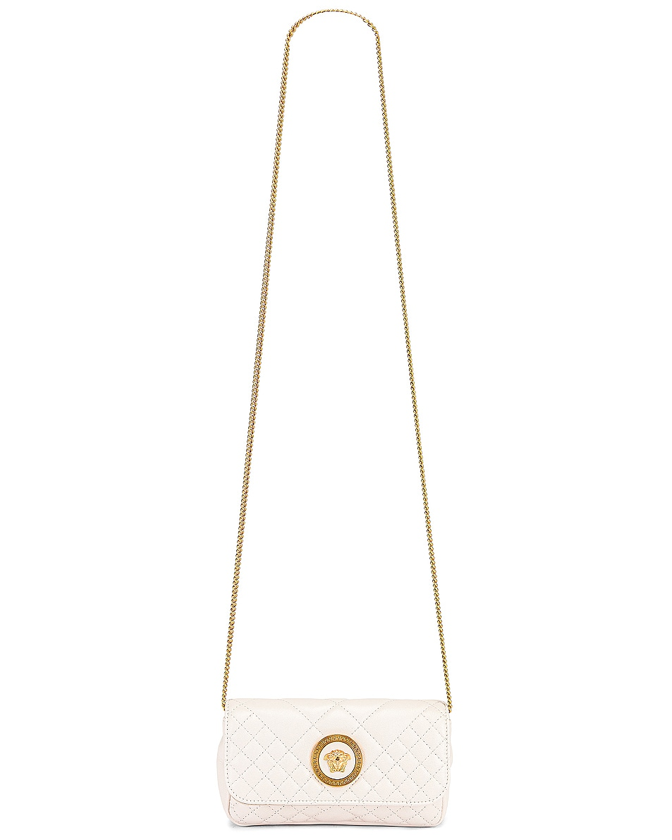 Image 6 of VERSACE Leather Tribute Mini Shoulder Bag in Off White & Gold