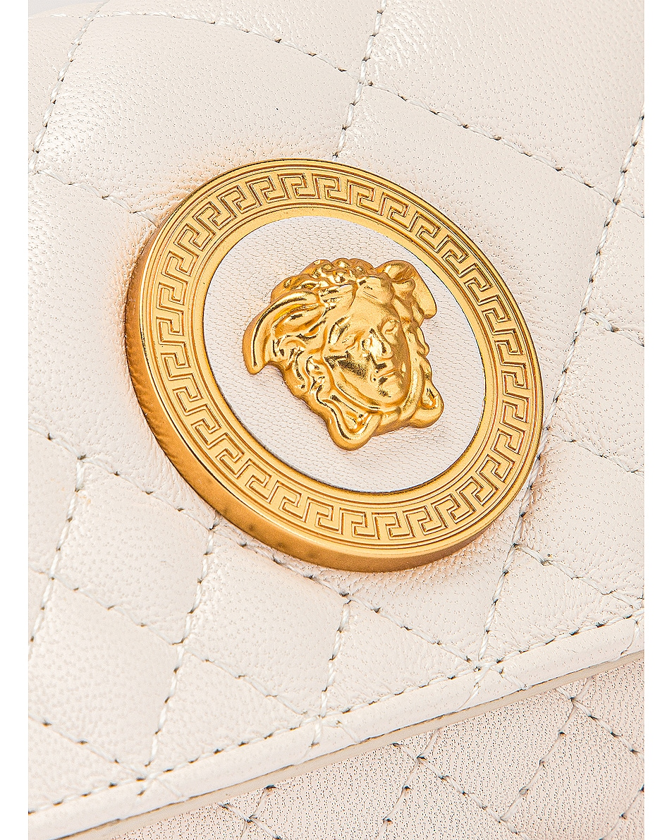Image 8 of VERSACE Leather Tribute Mini Shoulder Bag in Off White & Gold
