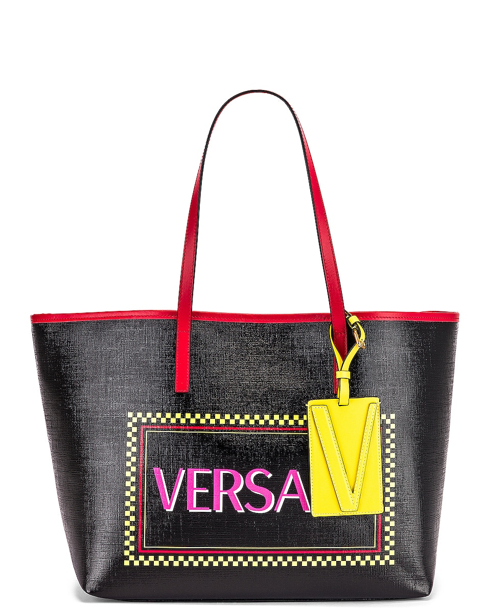 Image 1 of VERSACE Logo Tribute Tote in Black & Multicolor