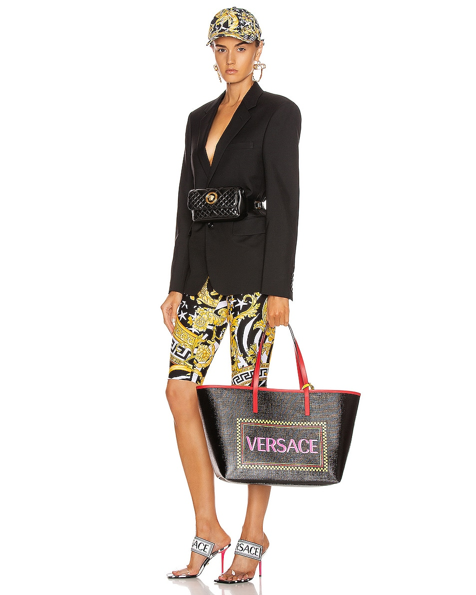 Image 2 of VERSACE Logo Tribute Tote in Black & Multicolor