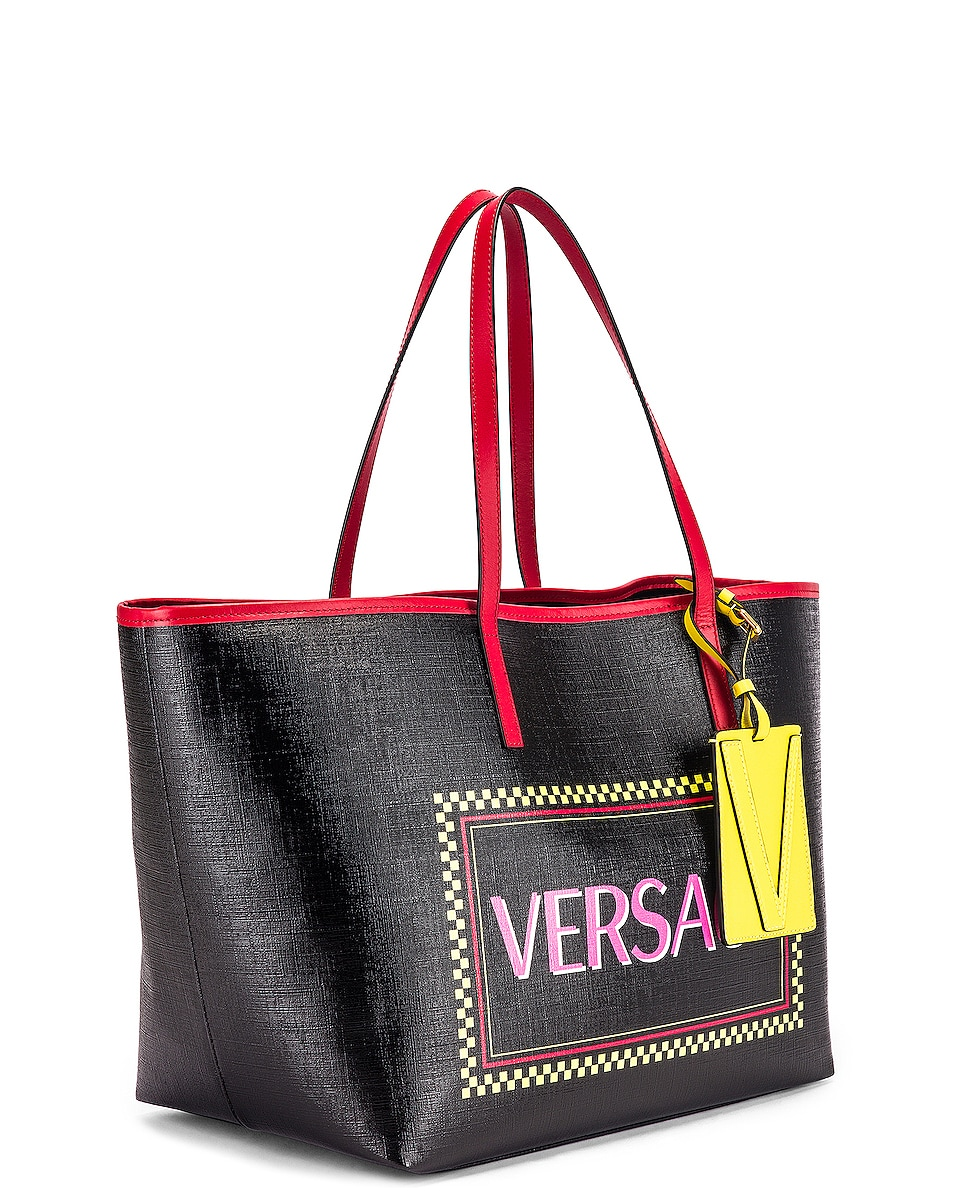 Image 4 of VERSACE Logo Tribute Tote in Black & Multicolor