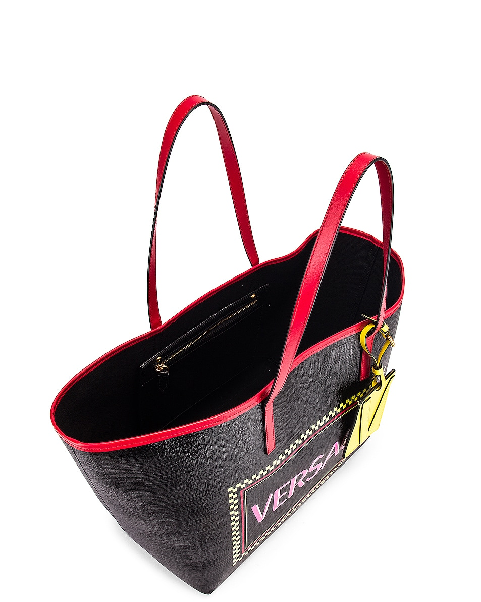Image 5 of VERSACE Logo Tribute Tote in Black & Multicolor