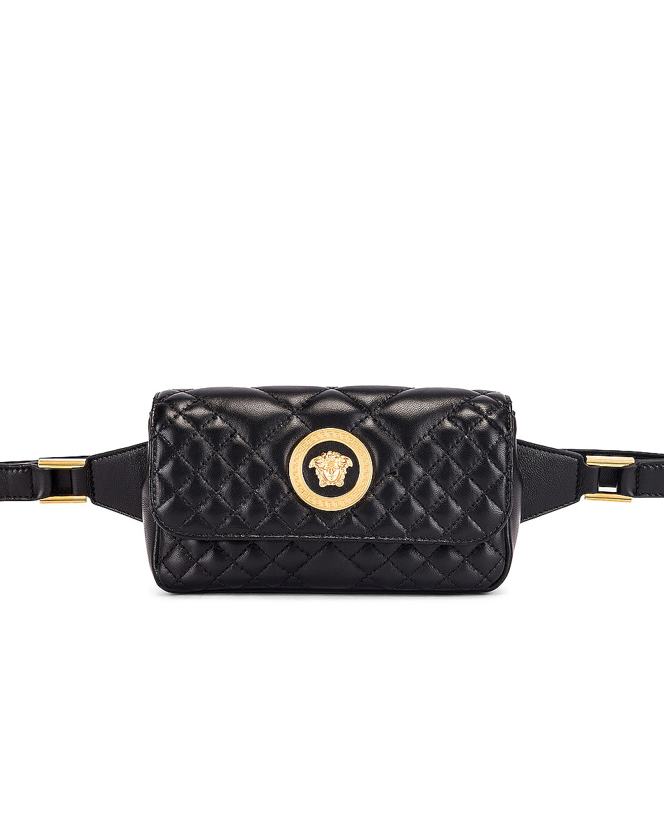 Image 1 of VERSACE Quilted Tribute Belt Bag in Black & Gold