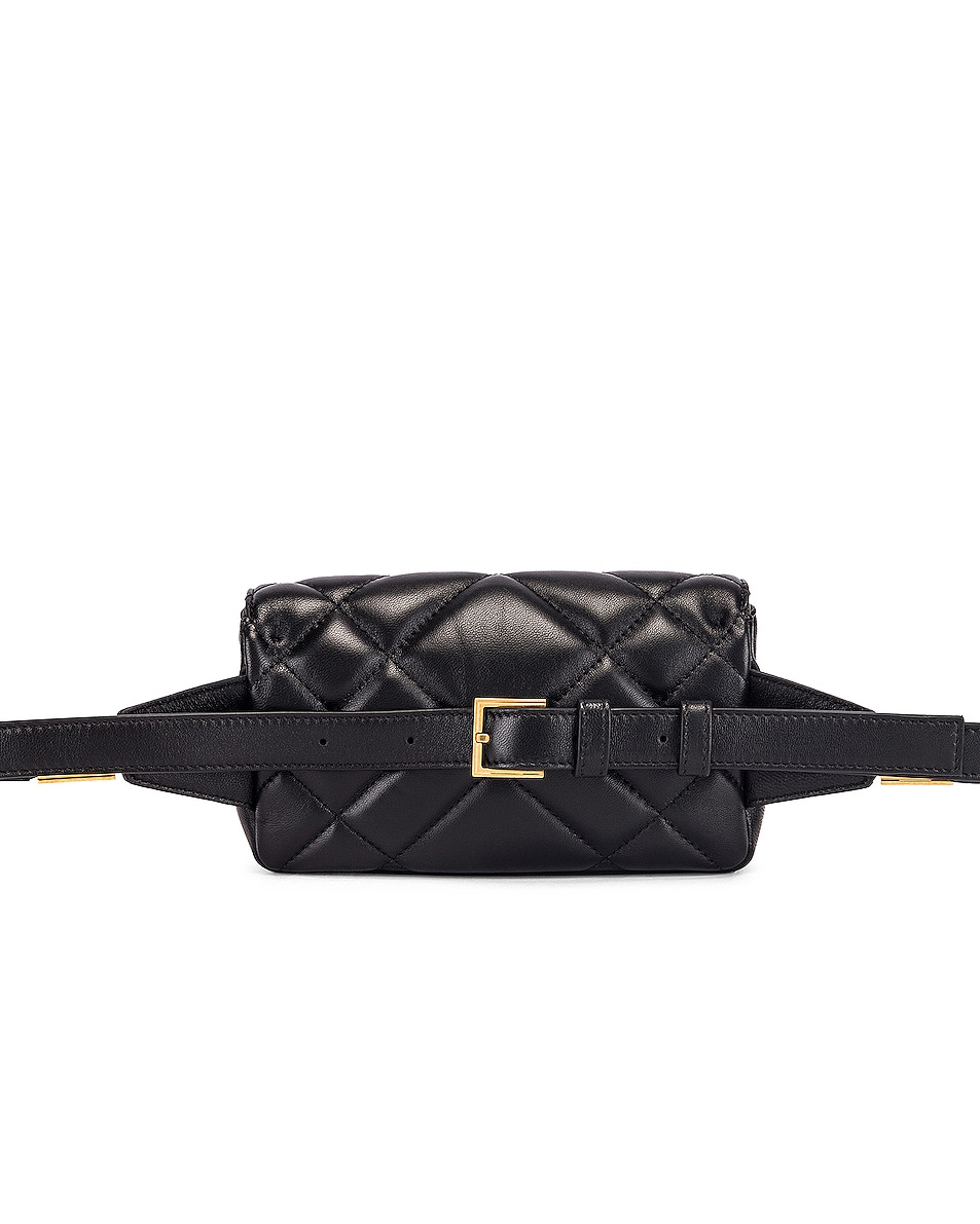 Image 3 of VERSACE Quilted Tribute Belt Bag in Black & Gold