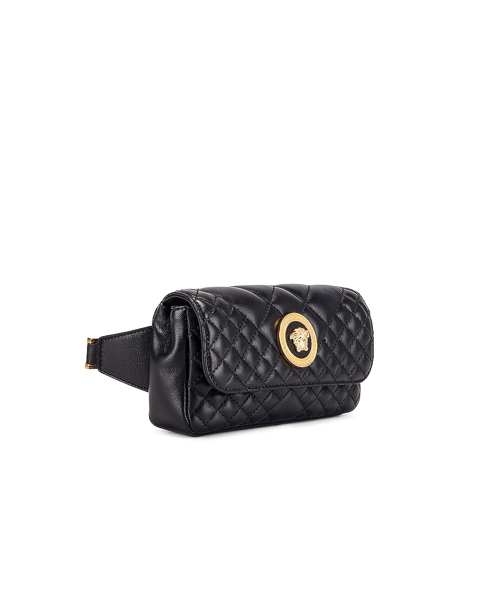 Image 4 of VERSACE Quilted Tribute Belt Bag in Black & Gold