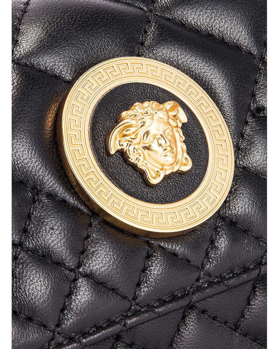Image 7 of VERSACE Quilted Tribute Belt Bag in Black & Gold