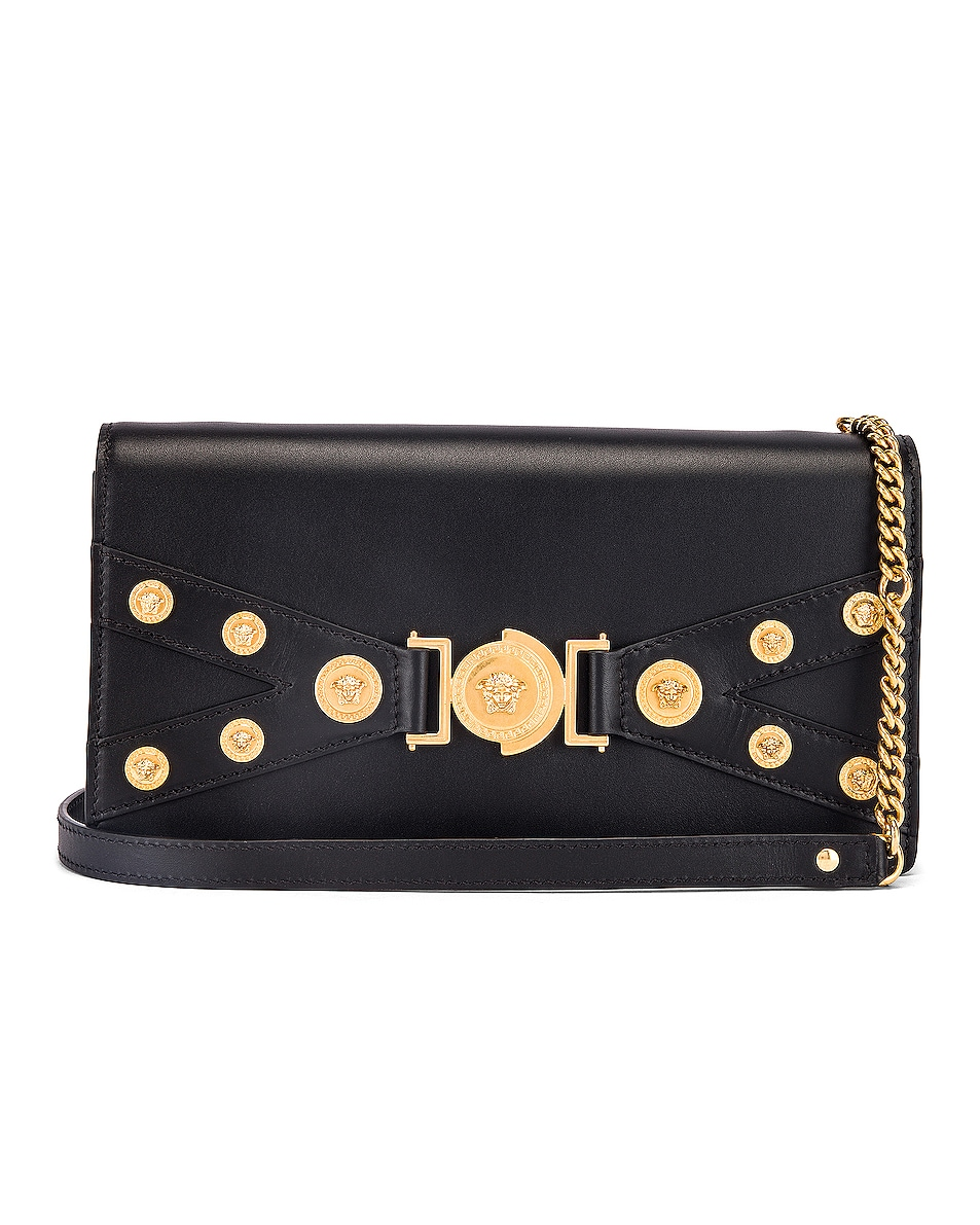 Image 1 of VERSACE Tribute Shoulder Bag in Black & Gold