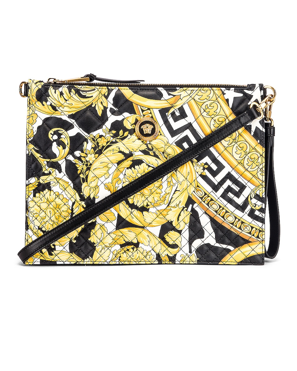 Image 1 of VERSACE Quilted Icon Pouch Bag in Black & Yellow