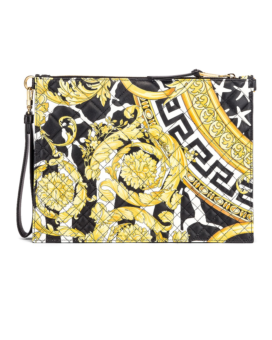 Image 3 of VERSACE Quilted Icon Pouch Bag in Black & Yellow