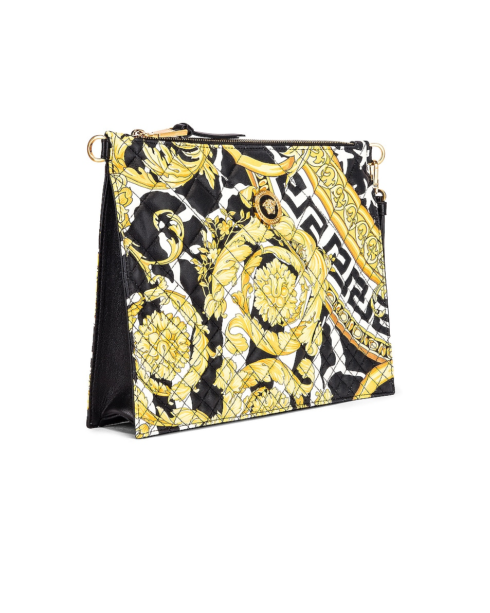 Image 4 of VERSACE Quilted Icon Pouch Bag in Black & Yellow