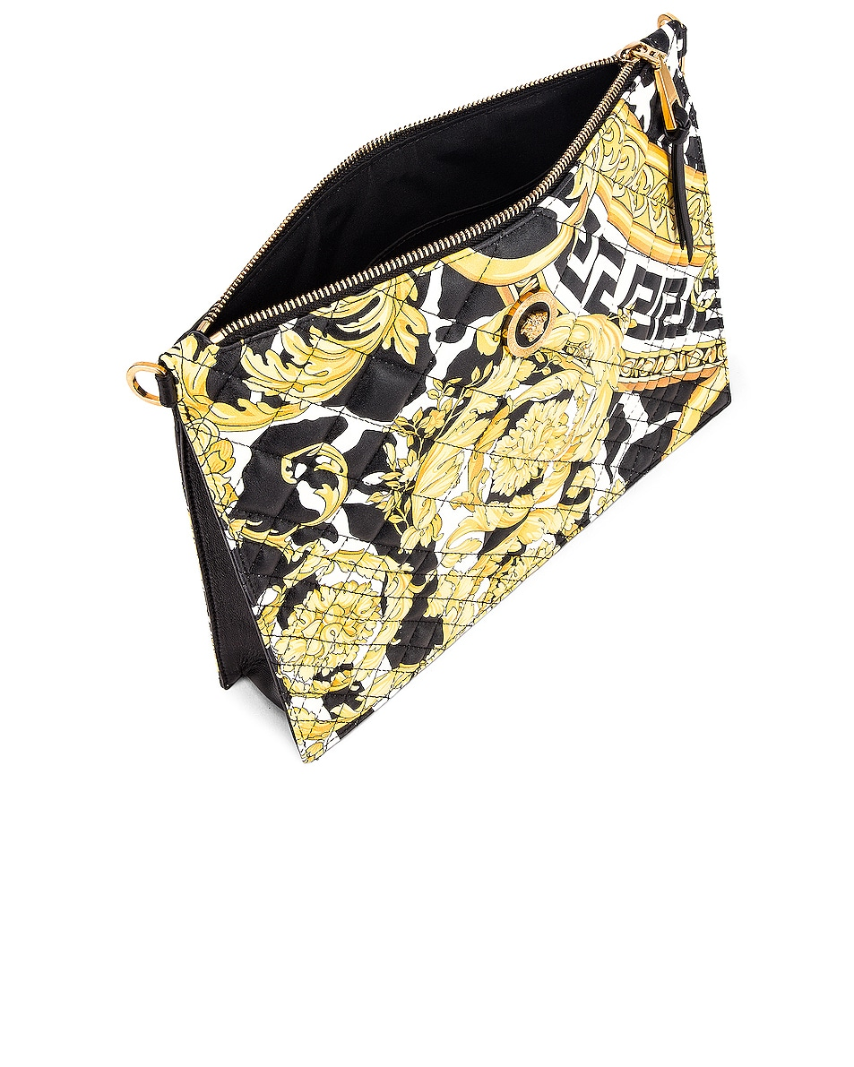 Image 5 of VERSACE Quilted Icon Pouch Bag in Black & Yellow
