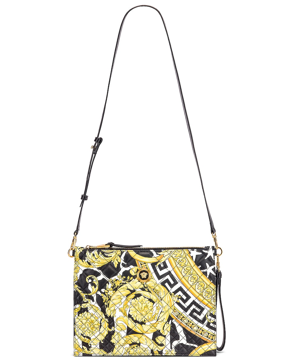 Image 6 of VERSACE Quilted Icon Pouch Bag in Black & Yellow