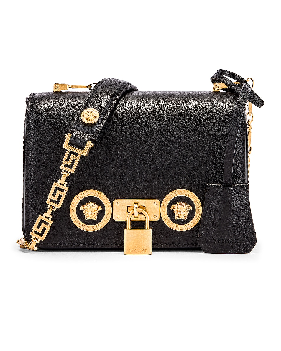 Image 1 of VERSACE Small Icon Flap Shoulder Bag in Black & Gold