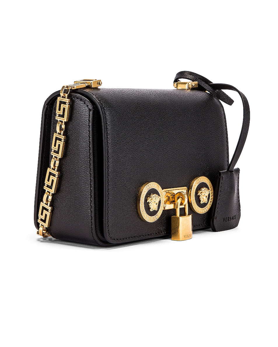 Image 4 of VERSACE Small Icon Flap Shoulder Bag in Black & Gold