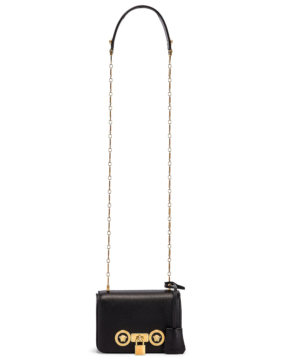 Image 6 of VERSACE Small Icon Flap Shoulder Bag in Black & Gold