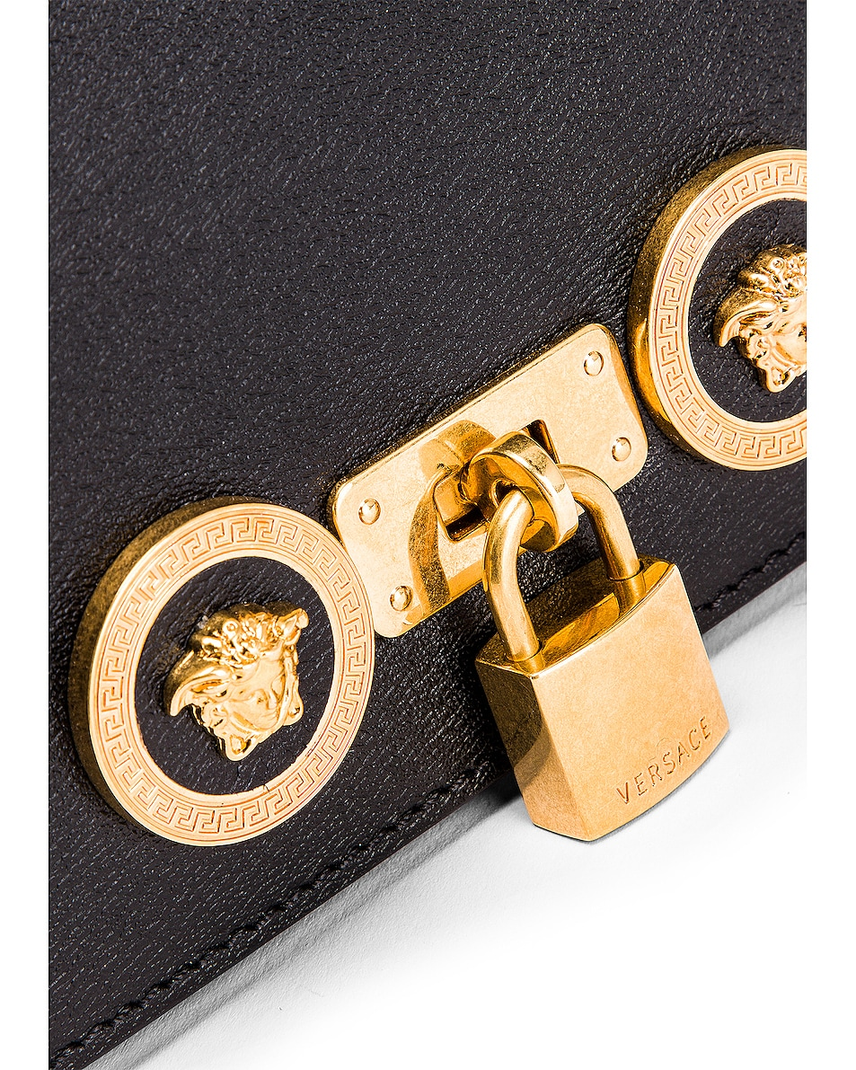 Image 7 of VERSACE Small Icon Flap Shoulder Bag in Black & Gold