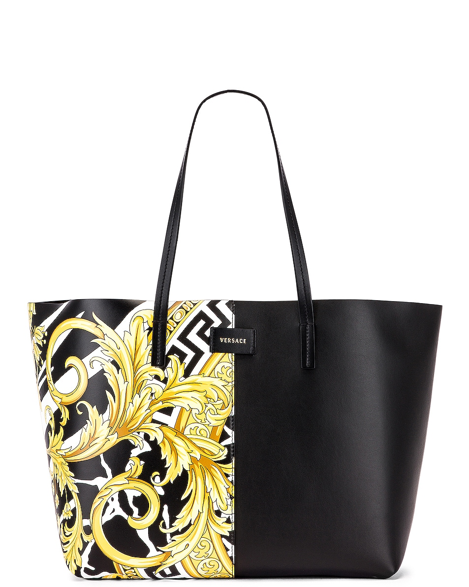 Image 1 of VERSACE Tribute Tote in Black & Gold