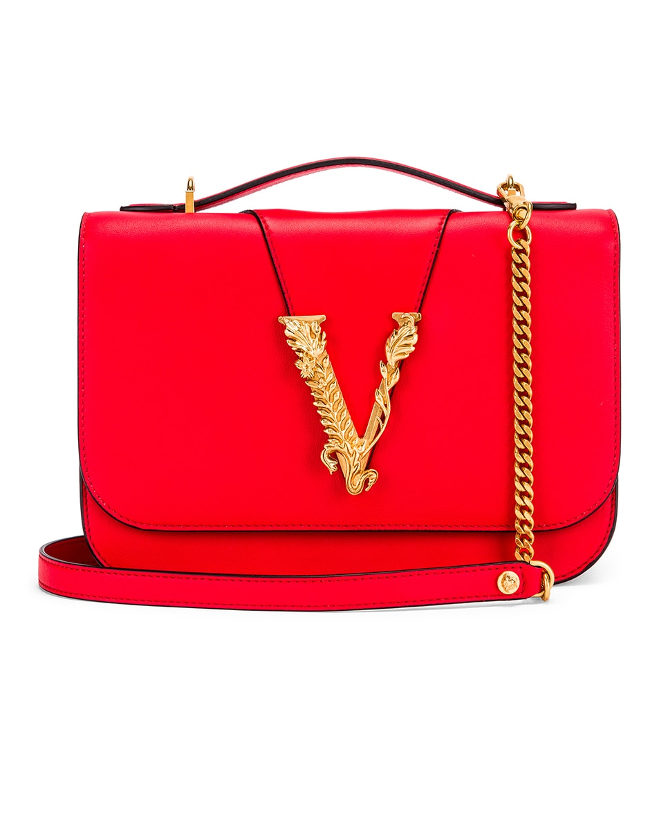 Image 1 of VERSACE Leather Tribute Crossbody Bag in Red & Gold