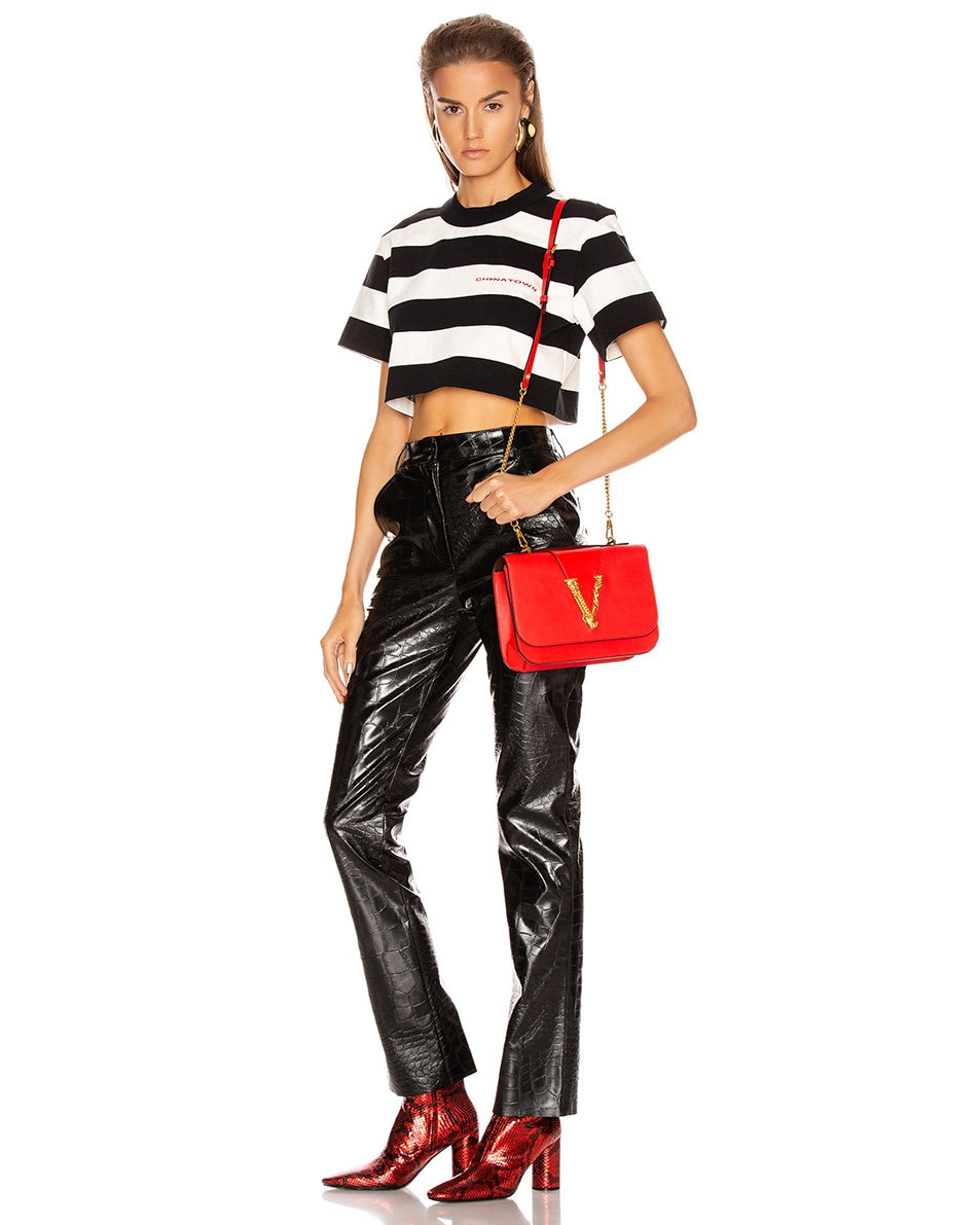 Image 2 of VERSACE Leather Tribute Crossbody Bag in Red & Gold
