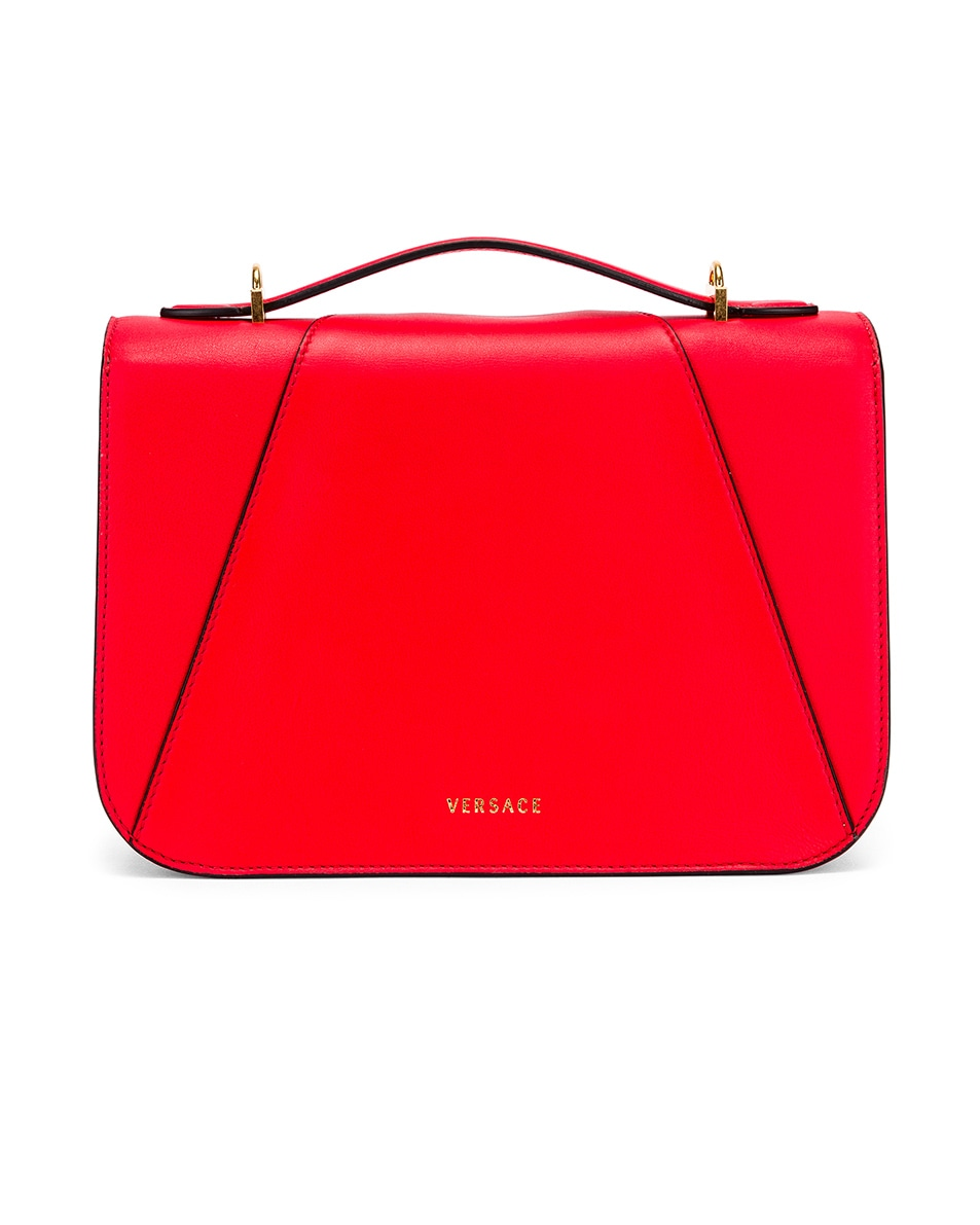 Image 3 of VERSACE Leather Tribute Crossbody Bag in Red & Gold