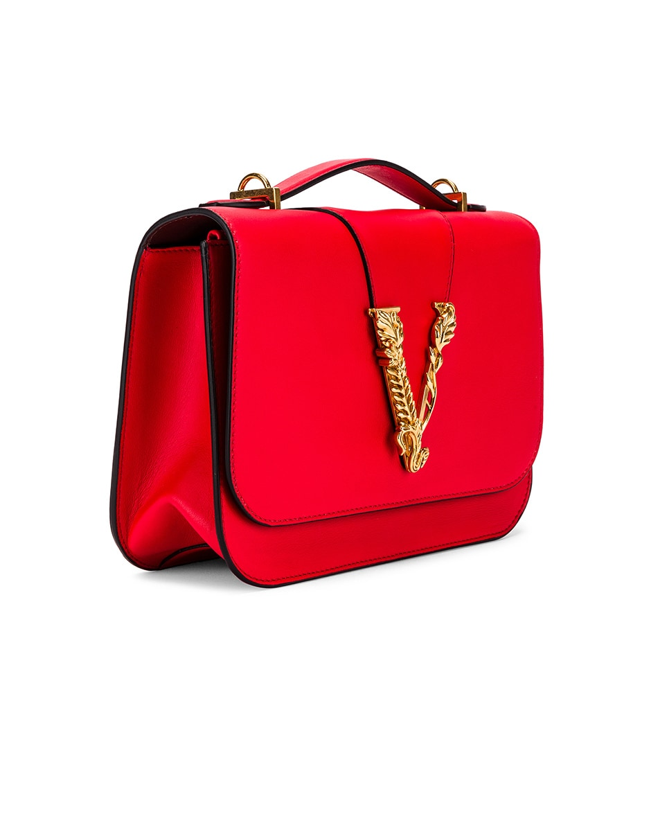 Image 4 of VERSACE Leather Tribute Crossbody Bag in Red & Gold