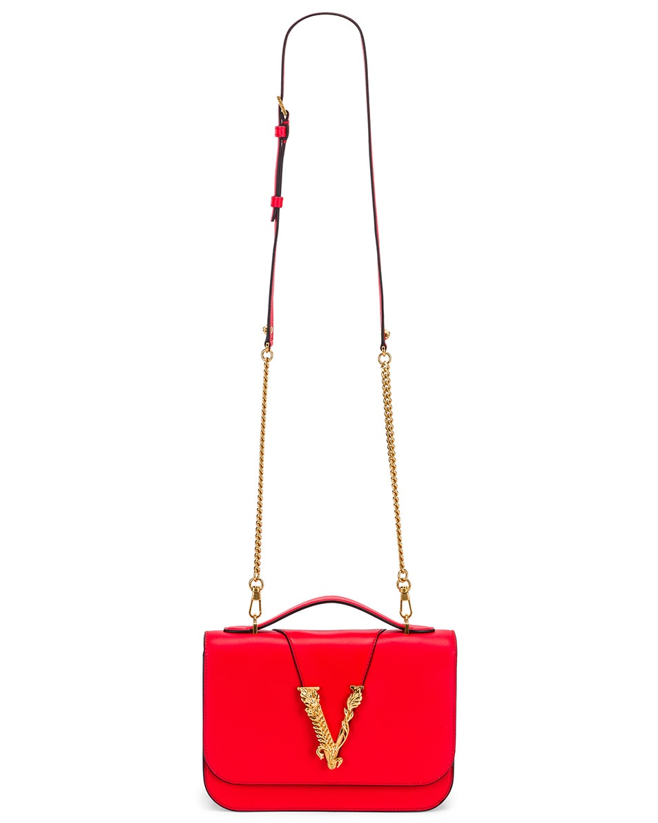 Image 6 of VERSACE Leather Tribute Crossbody Bag in Red & Gold
