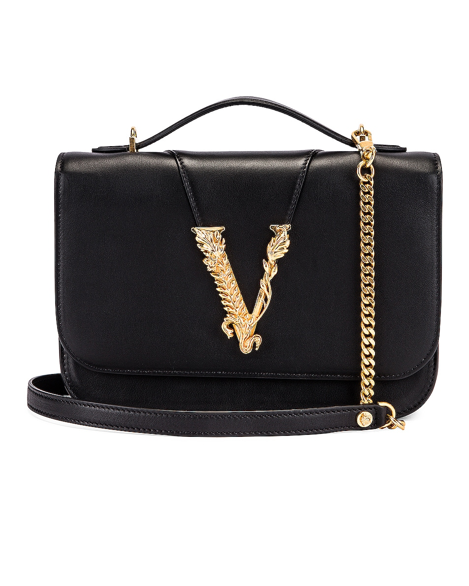 Image 1 of VERSACE Leather Tribute Crossbody Bag in Black & Gold