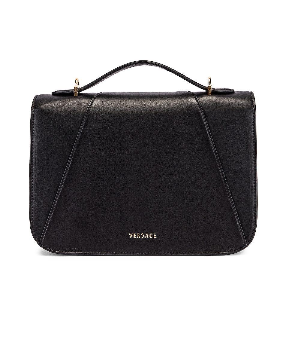 Image 2 of VERSACE Leather Tribute Crossbody Bag in Black & Gold