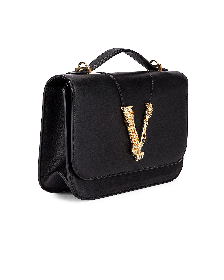 Image 3 of VERSACE Leather Tribute Crossbody Bag in Black & Gold