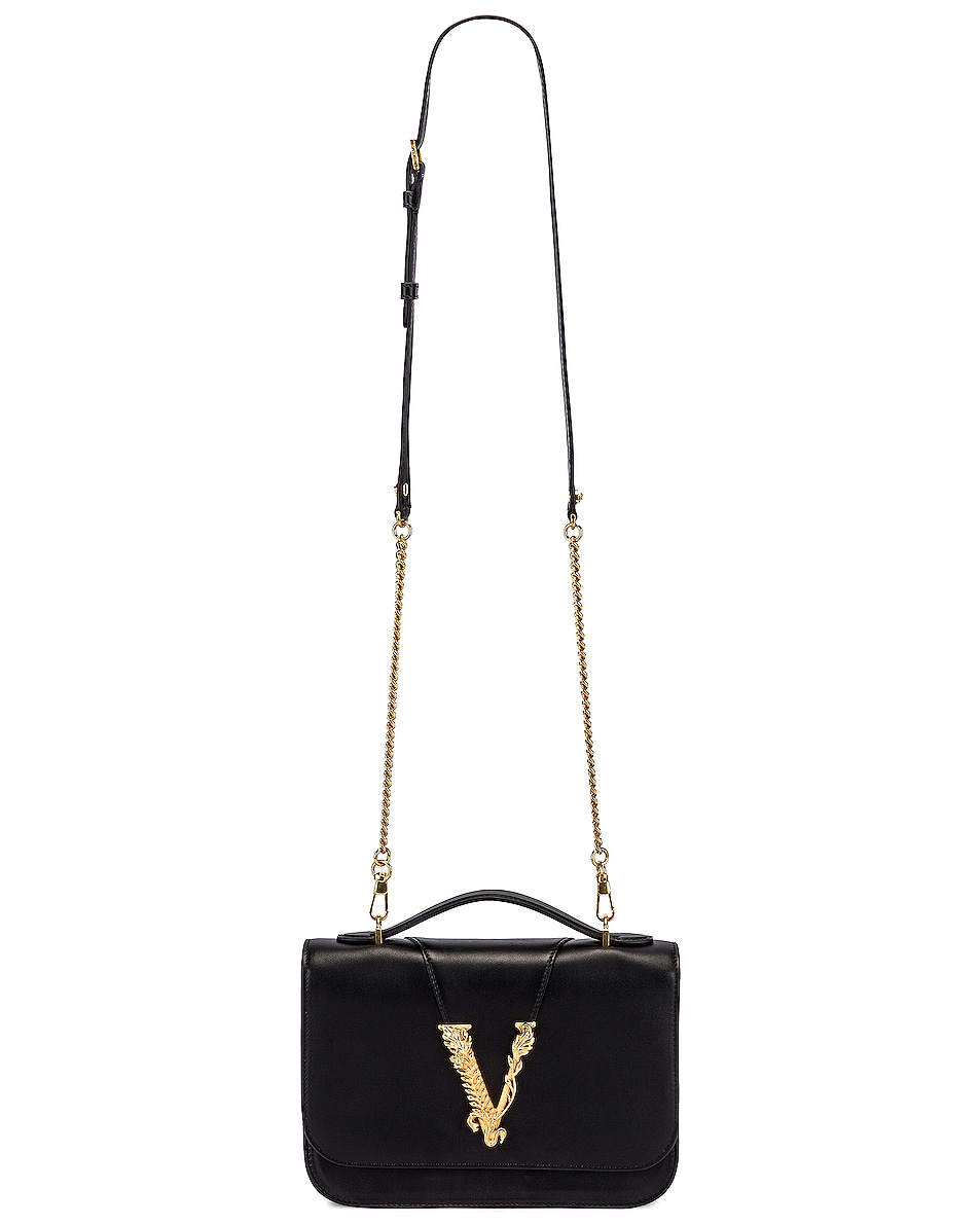 Image 5 of VERSACE Leather Tribute Crossbody Bag in Black & Gold