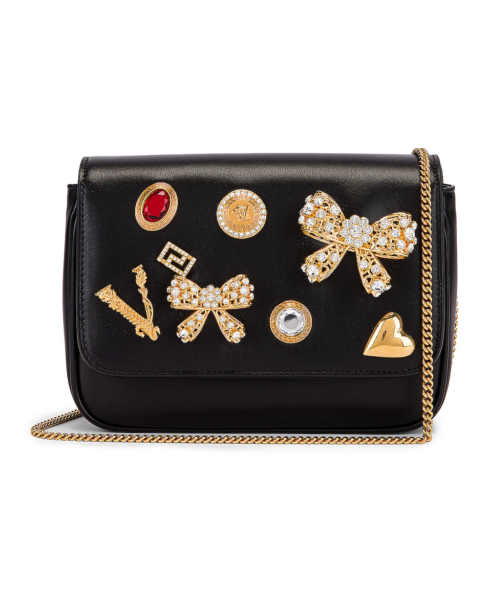 Image 1 of VERSACE Embellished Crossbody Bag in Black
