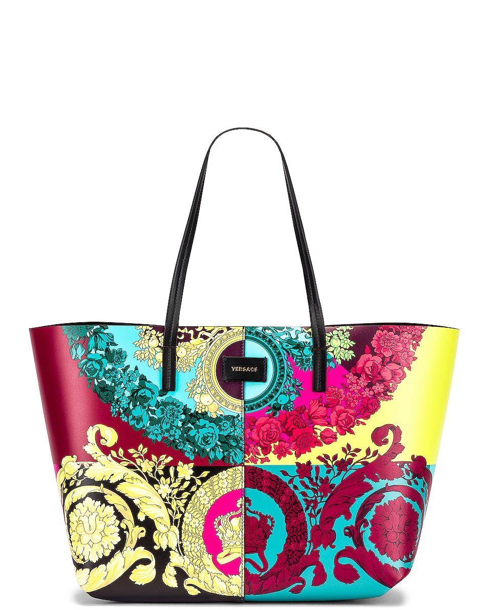 Image 1 of VERSACE Leather Tribute Tote in Black & Multicolor