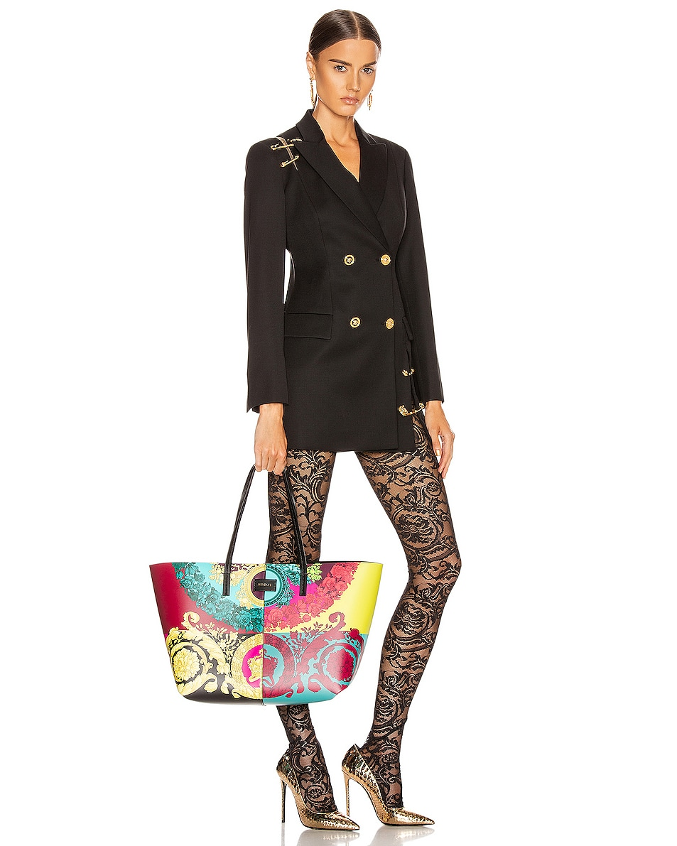 Image 2 of VERSACE Leather Tribute Tote in Black & Multicolor