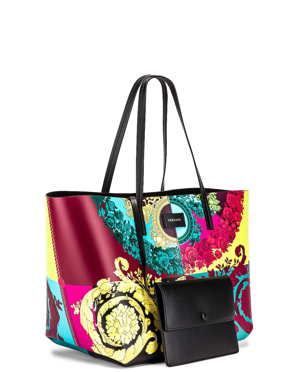 Image 4 of VERSACE Leather Tribute Tote in Black & Multicolor