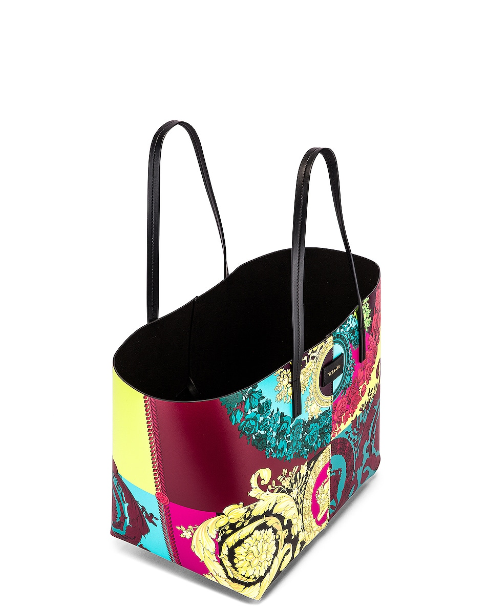 Image 5 of VERSACE Leather Tribute Tote in Black & Multicolor