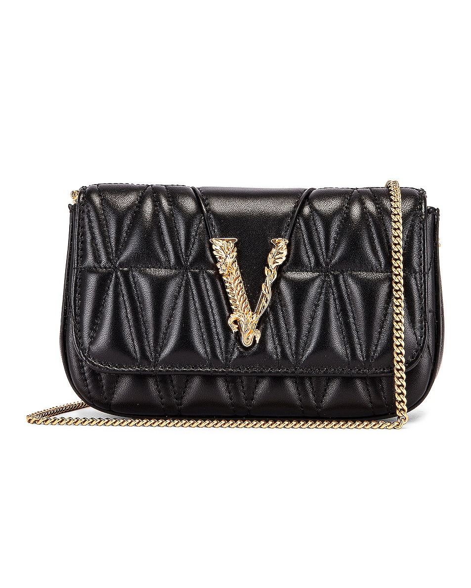 Image 1 of VERSACE Quilted Leather Tribute Rectangle Crossbody Bag in Black & Gold