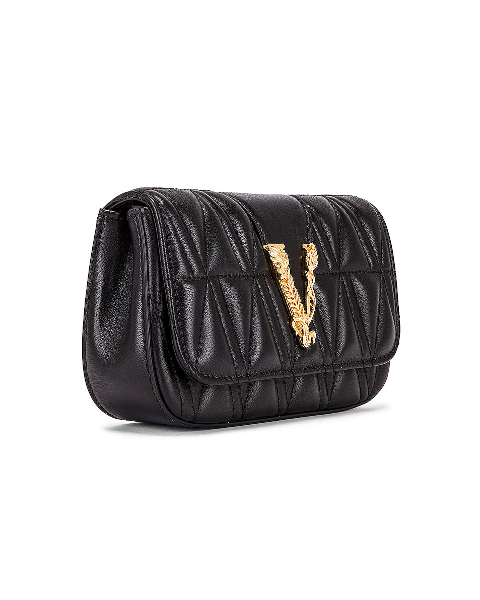 Image 4 of VERSACE Quilted Leather Tribute Rectangle Crossbody Bag in Black & Gold