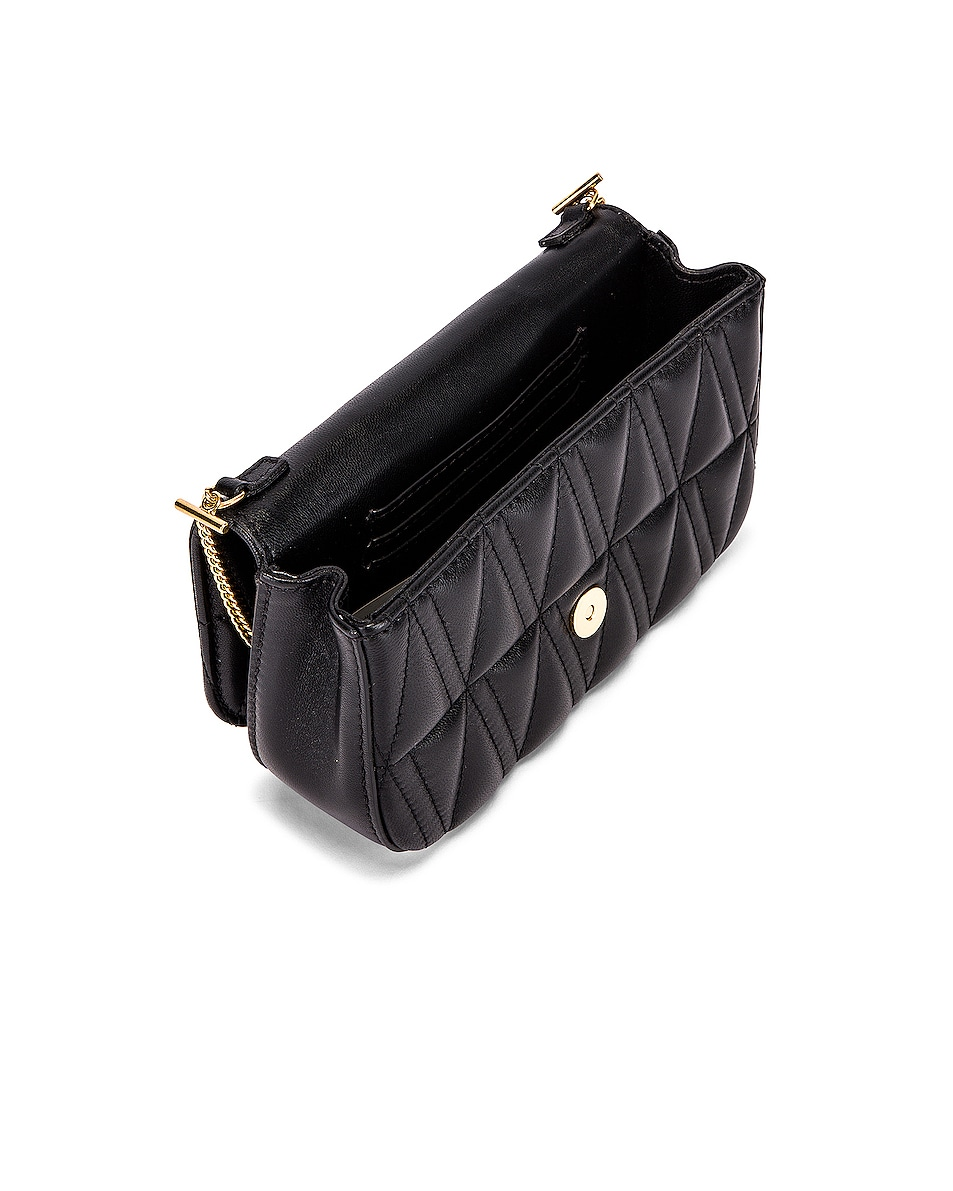 Image 5 of VERSACE Quilted Leather Tribute Rectangle Crossbody Bag in Black & Gold