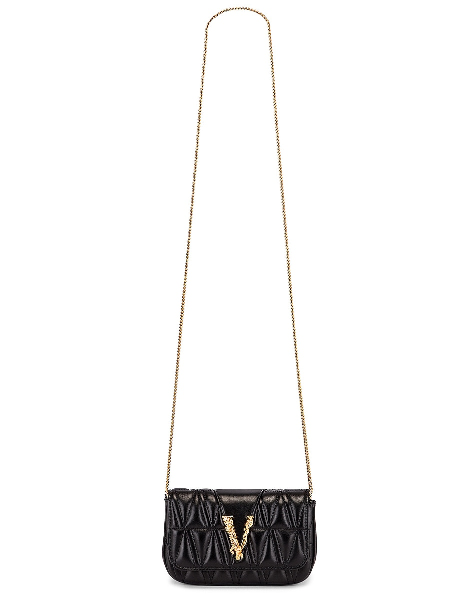 Image 6 of VERSACE Quilted Leather Tribute Rectangle Crossbody Bag in Black & Gold