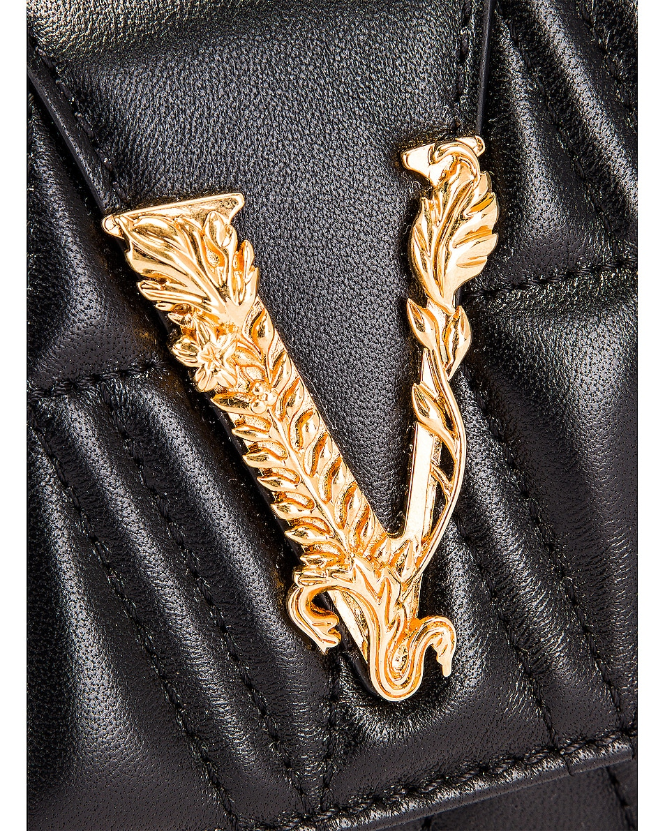 Image 8 of VERSACE Quilted Leather Tribute Rectangle Crossbody Bag in Black & Gold