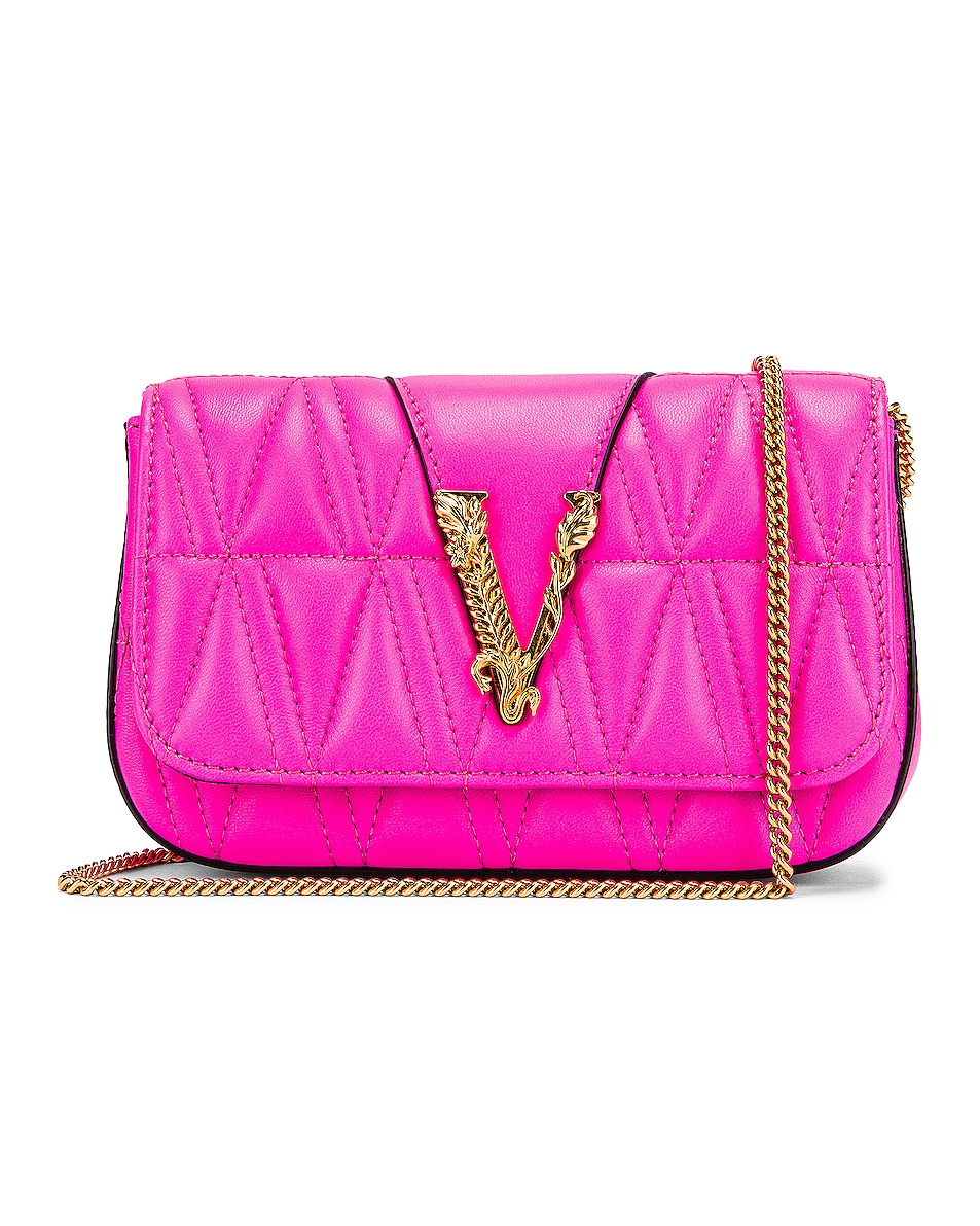 Image 1 of VERSACE Quilted Leather Tribute Rectangle Crossbody Bag in Fuchsia & Gold