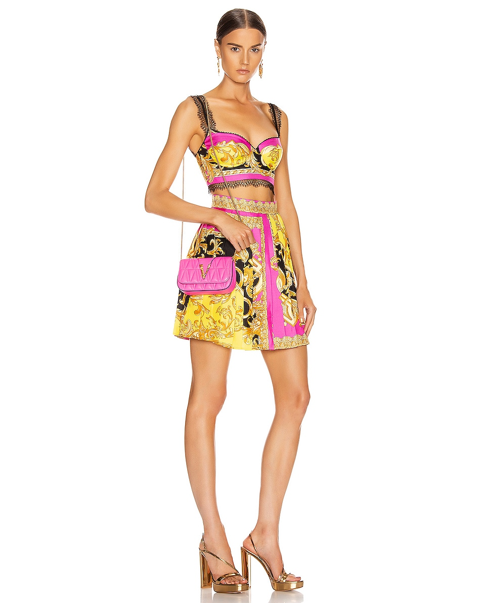 Image 2 of VERSACE Quilted Leather Tribute Rectangle Crossbody Bag in Fuchsia & Gold